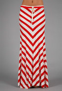 Long Striped Bias Skirt in Red/White Stripe