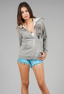 Color Tribal Horse Zip Up Sweatshirt in Heather Gr