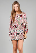 Batwing Dress in Multi Tribal