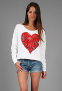 Farrah Wing Love Crop Sweatshirt in White