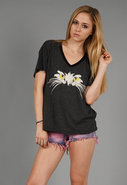 Cat Eyes Oversize V Neck Tee in Clean Black