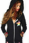Zip Up Hoodie with Tribal Print in Black