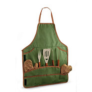 Barbeque Tool Set and Apron Tote - Olive Green