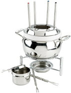 Stainless Steel Fondue Pot With Ceramic Insert - 8