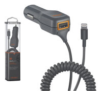 2.1 Amp Dual Output Car Charger With Lightning Cab