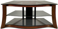 Dark Cherry Wood And Glass Flat Panel TV AV Stand 