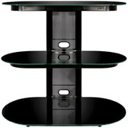 BellO Black Flat Panel Audio Video Stand - FP-9830