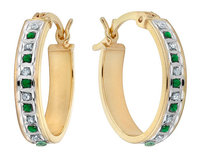 Emerald and Diamond Oval Hoop Earrings in Sterling