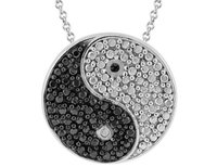 Black Diamond Accent Ying Yang Pendant Necklace in