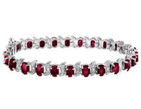 Garnet Bracelet with Diamond 13 Carat (ctw) in Ste