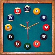 Billiards Square Mahogany Wall Clock