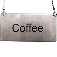 Stainless Steel Hanging Chain Coffee Sign