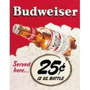 Budweiser 25? Bottle Metal Bar Sign