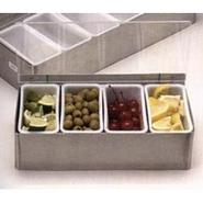 Bar Garnish Tray in Stainless Steel - 6 Compartmen