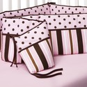 Maya Baby Crib Bumpers Pink & Brown