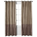 Banded Faux Silk Window Panel - Brown (54x95 )