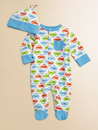 Infant's Car Print Footie and Beanie Set