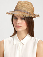 Guard Rail Frayed Raffia Fedora