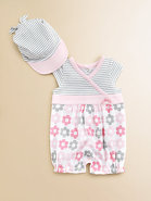 Infant's Daisy Striped Romper & Cap Set