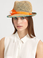 Summer Shards Feather-Trimmed Woven Fedora