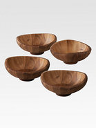Butterfly Wooden Salad Bowls, Set of 4