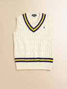 Boy's Striped Cable-Knit Vest