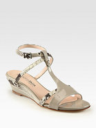 Fiorella Python & Patent Leather Wedge Sandals