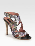 Freda Snakeskin Crisscross Sandals
