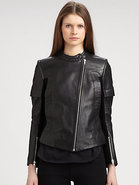 Suede-Trim Leather Moto Jacket