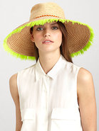 Horchata Wide-Brimmed Feathered Raffia Hat