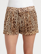Leopard-Print Silk Shorts