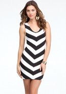 - Mitered Stripe V-Neck Dress - Black/White - Xs