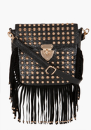 - Stud & Fringe Crossbody Bag - Black/Gold - 1Sz