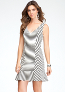 - Stripe V-Neck Flounce Dress - White/Black - M