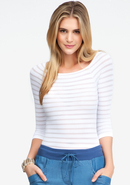 - Sheer Stripe Raglan Sleeve Top - White - M/L
