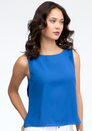 - Layered Open Back Chiffon Tank - Nautical Blue -
