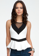 - Colorblock Mesh Peplum Tank - White/Black - Xxs