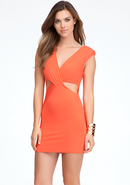 - Reversible V-Neck Cutout Dress - Hot Coral - L