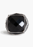 - Faceted Stone Stretch Ring - Black/Silver - 1Sz