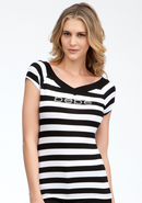 - Logo Double V-Neck Stripe Top - Black/White - M