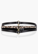 - Leather Strap Stretch Belt - Black/Leopard - M/L