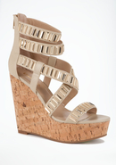 - Carol Metal Link Wedge - Beige - 7