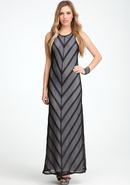 - Stripe Mesh Maxi Dress - Blk - Xs