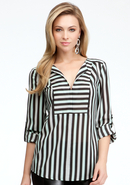 - Tricolor Stripe V-Neck Tunic - Tri Color Stripe
