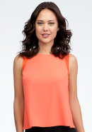 - Layered Open Back Chiffon Tank - Hot Coral - Xs