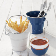 Outdoor Enameled Steel Buckets, White