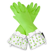 Lime-Polka-Dot Cleaning Gloves