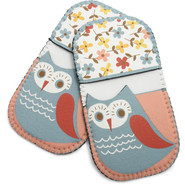 Spring Owl Mini Grip Potholders, Set of 2