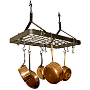 Hammered-Steel Rectangle Pot Rack