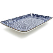 Blue Spirals Sushi Plate, 8  x 5??
